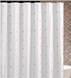 DOTZ White Shower Curtain with Silver Star and Flower Design - 70