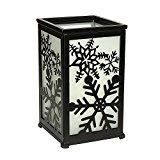 Decorative Flameless Hurricane Lantern,12 adorable panels,Black,Requires 2 C batteries