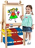 Deluxe Standing Easel - Two Sided A-Frame Paint Easel, Chalk Board & Magnetic Dry Erase - w/ Storage, Supply Holder & Paper Feed - Art Station & Educational Tool for Toddlers By Kids Destiny