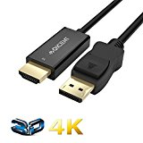 Displayport to HDMI Cable 4K Converter Gold Palted port for Apple MacBook Air Pro 6.6ft - Black