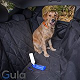 Dog Seat Cover for Cars With Extra Side Flaps and Seat Anchors, Hammock, Universal Fit, Non Slip & Waterproof Backing, Black - Bonus Free Water Dispenser for Dogs By Gula
