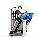 Elech iPhone 7 Wallet Case, [Card Slot Holder][KickStand] Heavy Duty Dual Layer Impact Resistant Shockproof Anti-scratch Protective Cover fits iPhone 7 - Silver