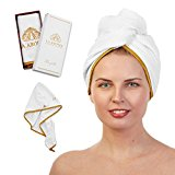Elegant Hair Towel for Beautiful Hair, Designed in Europe, Most Luxurious Microfiber White Turban Bath Towel for a Spa Day at Home