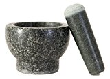 Elm Cove Mortar and Pestle Set - Spice Grinder - Made of Solid Granite Stone - 6 Inch Pestle - 2 Cup Capacity - Perfect Gift for any Chef or Foodie