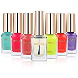 Emosa Water Based Nail Polish Set for Girls-100% Non-Toxic Peelable (Pack of 7)-6 Colored Bottles with 1 Base Coat/Top Coat