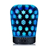 Essential Oil Diffuser,180ml Ultrasonic Aroma Cool Mist Humidifier Aromatherapy Waterless Auto Shut-off Air Purifier with 3D Effect 14 Color Changing LED Lights for Home Office Bedroom Yoga Spa