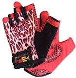 Evolve Fit Weight Gloves for Weight Training, Powerlifting, Cross training, Biking, WOD (Pink Leopard, Medium)