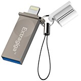 Extragiga MFi iPhone Flash Drive 32GB USB 3.0 Adapter with Lightning Connector Memory Stick Expansion for iPhone iPad iPod iOS PC - Silver