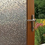 Fancy-Fix Vinyl Static Cling Cut Glass Privacy Decorative Mini Mosaic Window Film Roll Package 17.7 Inches By 59 Inches