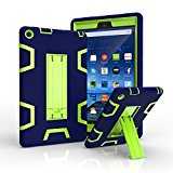 Fire HD 8 Case, [Heavy Duty] High Impact Hybrid Drop Proof Armor Defender Protection Case Built With Stand for All-New Fire HD 8 (6th Generation, 2016 release) (Navy+Green)