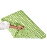 Firstway Grip No Smell PVC Antislip Massage Bath Mat (30.7L x 18.11W Inches) Washable Aslo for Baby No-Slip Rubber Bathtub Mats - Green