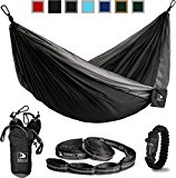 Flagship-X Double Camping Hammock with Tree Straps and survival bracelet fire starter. For backpacking, 2 person travel hammock. (Black & Grey)