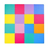 Foam Puzzle Mat for Kids, Superjare 1ft x 1ft (16 tiles = 16 sq.ft) EVA Playmat Interlocking Tiles, with Borders Multi-Color