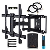 Full Motion Dual Articulating TV Wall Mount Bracket Kit with Surge Protector, HDMI Cable, Bubble Level and Screen Cleaning for TVs up to 100lbs, 37-70 Inches and VESA 600x400mm by Perlegear