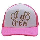 Future Mrs and I Do Crew Glittering Distressed Trucker Style Cap Hat Rocks any Outfit (IdoCrew/PinkGold)