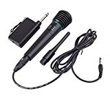 GBTech 2in1 Handheld Wired/Wireless Cordless Microphone Karaoke System Undirectional (Black)