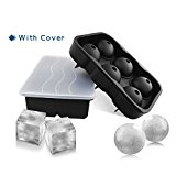 GOODLOGO Ice Cube Whiskey Trays Silicone Ice Cube Trays Combo (Set of 2) Sphere Ice Mold & Big Ice Cube Tray Novelty -Silicone Ice Ball Maker For Highball & Whiskey Glasses -[2 Pack]