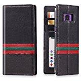 Galaxy S8 Leather Flip Case -- iPulse Milan Series Italian Full Grain Leather Handmade Wallet Case For Samsung Galaxy S8 - [Vintage Book Style ] [Built-in Stand] [Card Slots Holder] - Black/Red