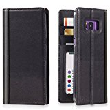 Galaxy S8 Plus Leather Flip Case -- iPulse Journal Series Italian Full Grain Leather Handmade Wallet Case For Samsung Galaxy S8+ - [Built-in Stand] [Card Slots Holder] - Black