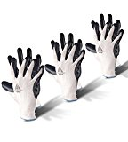 Gardening Gloves, 3 pairs by GloveFactor | Nitrile Coated Gloves for Superior Protection | Garden / Work Gloves for Women or Men | Comfort Fit Breathable Nylon Yard Work Gloves | Black & White