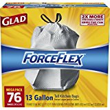Glad ForceFlex Drawstring Tall Kitchen Trash Bags, Unscented, 13 Gallon, 76 Count