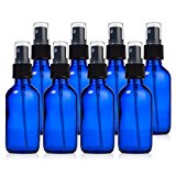 Glass Spray Bottles - 8 Piece 2oz Cobalt Blue Small Glass Bottles Set with Fine Mist Sprayer By Papifleure -Reusable Dark Colored Potion Bottles For Travel and Any Purpose
