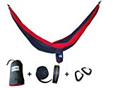 GoPoint Double Parachute Hammock With Tree Straps - QUICK And EASY To Hang Portable Lightweight Nylon Camping Hammock (Red and Grey)