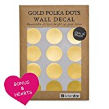 Gold Wall Decal Dots (218 Decals including 8 Heart Decals), Removable Metallic Vinyl Polka Dot Decor -Safe On Wall | 2