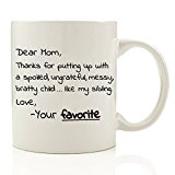 Got Me Tipsy Dear Mom, Thanks For Putting Up With My Sibling - Funny Coffee Mug - Birthday Gift Idea for Mom, Mother's Day Gift for Mom - 11-Ounce, Ceramic