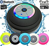 Guppy Water Resistant Bluetooth LED Shower Speaker - FM Radio TF Card Reader, 2016 Model Kid-friendly, Built-in Control Buttons, Speakerphone, Powerful Suction Cup for Indoor/Outdoor Use (Black)