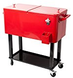 HIO 80 Qt Outdoor Patio Cooler Table On Wheels, Rolling Cooler With Shelf, Red