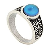 Handmade Zinc Alloy Mood Ring Antique Sterling Silver Plated Oval Shape Temperature Sensing Color Changing Stone Finger Big Rings for Women Fashion RS007