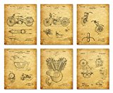 Harley Davidson Patent Art Prints - Set of Six Photos