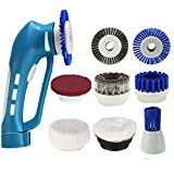 Cordless Household Power Scrubber Cleaning Kit with Rechargeable Battery, 7Pcs Replacement Cleaning Brushes and 1Pcs Scouring Pad Multi Purpose for Bathroom and Kitchen, Blue