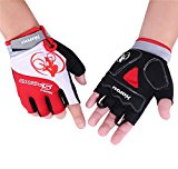 Hoyou Men/Women Flexible Breathable Gel-Pad Anti-Slip Cycling Half-Finger Gloves, RED XXL