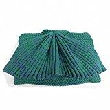 Hughapy knitted Mermaid Tail Blanket for Kids Crochet Snuggle Mermaid,All Seasons Seatail Sleeping Blanket (Kids,Green)