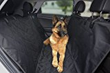 HupAndPup Pet Backseat Cover for Cars, SUVs, and Trucks: Black Blanket, Waterproof, Non-Slip, Anti-Scratch Hammock or Bench Seat Pad/Mat plus 2 Pet Safety Belts