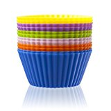 Iacook Silicone Cupcake Liners, Baking Cups Cupcake Liners Muffin Cake Molds - 12 pack, 6 colors