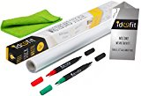 Ideofit Dry Erase Whiteboard Sticker 17.7''x78.7'' Self-Adhesive Paper Roll Sheet, Board Wall Decal for Office, School, Home, 2x Dual Tip Markers + Cleaning Cloth + Instructions Flyer