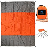 InnoCreek Extra Large 9 x 7 ft Outdoor Beach Blanket / Picnic Blanket - Sand Proof & Quick Drying Parachute Nylon - Includes 4 Anchor Pockets & 6 Steel Stakes in Portable Travel Bag (Orange / Grey)