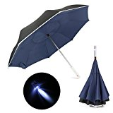 Inverted Umbrella, Veckle Double Layer LED Car Reverse Folding Umbrella Windproof and UV Protection Self Standing Straight Umbrella with Carrying Protective Sleeve, Midnight Blue