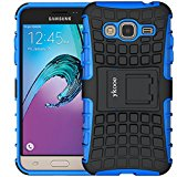 J3 Case, Galaxy Amp Prime Case, ykooe (Armor Series) Heavy Duty Protection Hybrid Shockproof Dual Layer Protective Case Cover With Stand for Samsung Galaxy J3 / Amp Prime / Express Prime (Blue)