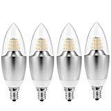 JACKYLED Candelabra , Dimmable 65-Watt Light Bulbs Equivalent, LED 7 Watt Warm White 2700K Chandelier Bulb, LED Light Bulbs 120V, 600 Lumens LED Lights, E12 Candelabra Base Torpedo Shape ( 4 of pack )