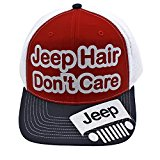 Jeep hair Don't Care Glittering Trucker Style Baseball Cap Hat (red)