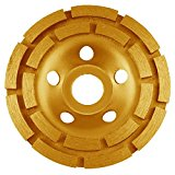 KSEIBI 644030 4-1/2-Inch Double Row Diamond Cup Grinding Wheel Gold