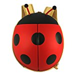 Kids Ladybug Backpack for Girls, Cute and Adorable with Free Drawstring Bag (Red)