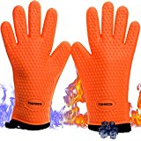 Kitchen Perfection BBQ Grill Gloves -Extreme Heat And Cool Resistant Oven Mitts For Cooking,Baking,Smoker and Grilling-Lifetime Replacement|internal Cotton|Insulated|Waterproof|2 Sticky Hooks Bonus