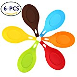 Kitchen Silicone Spoon Rest --- Set of 6 Flexible Almond-Shaped Heat Resistant Cooking Spoon Holder