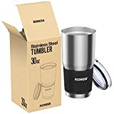 Kollea Double Wall Vacuum Insulated Stainless Steel Tumbler Travel Mug with Lid and Neoprene Sleeve, 30-Ounce