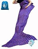 LAGHCAT Mermaid Tail Blanket Crochet and Mermaid Blanket for Adult, All Seasons Sleeping Blankets (35.5